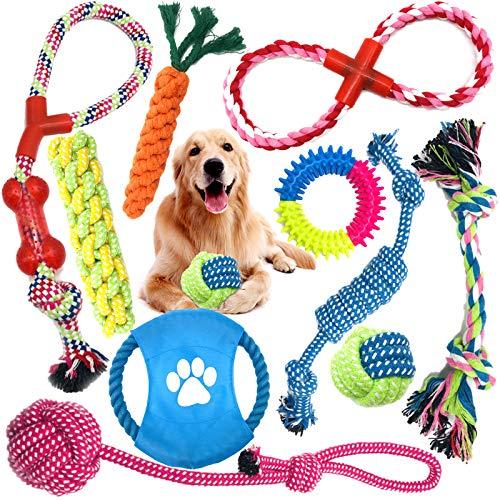 MOOING Hundespielzeug Set,Hundeseile, interaktives Pet Rope Spielzeug, Hergestellt aus Natürlicher Baumwolle ungiftig…