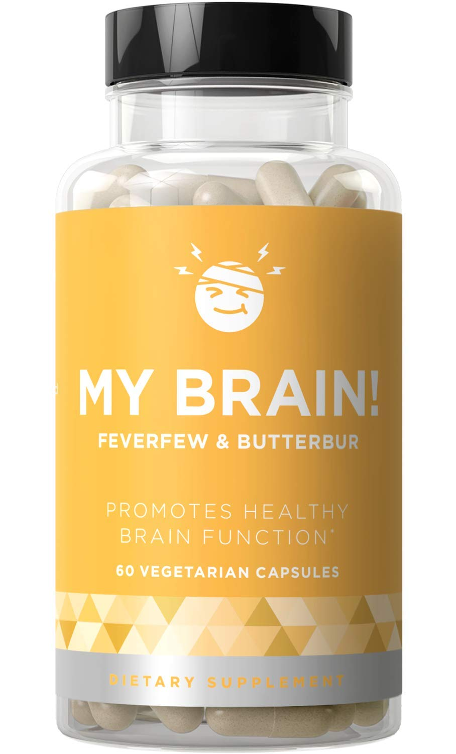 My Brain! Natural Headache Vitamins - Healthy Brain Function, Ease Your Mind, Open & Clear Head Relief - Strong Potency Magnesium, Butterbur, Feverfew - 60 Vegetarian Soft Capsules by Eu Natural
