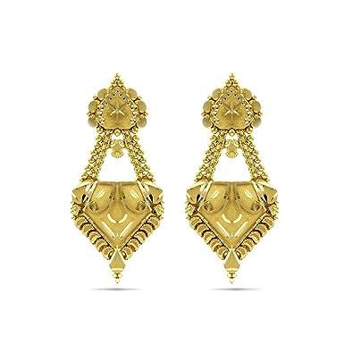 b984e6aadf392 Candere By Kalyan Jewellers 22KT Yellow Gold Jhumki Earrings for Women