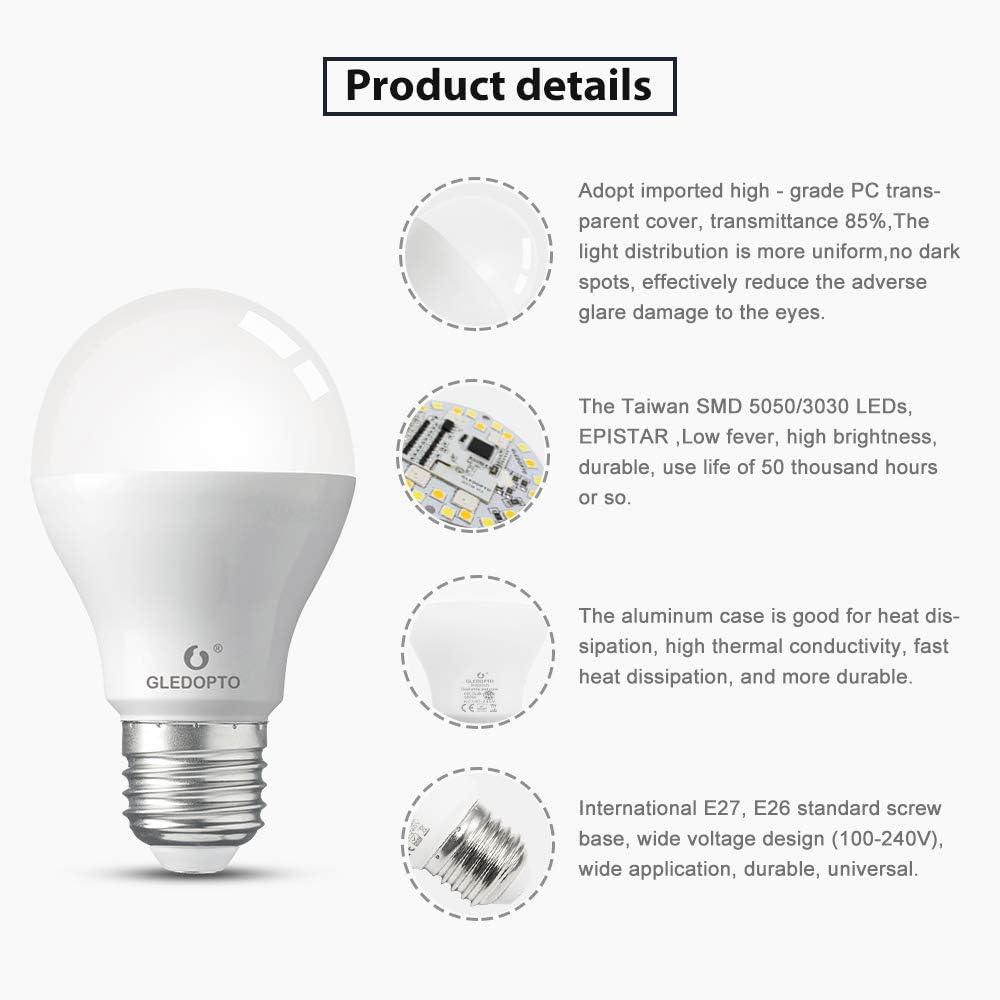 E26 Base RGBCCT Bulb Dimmable Tunable White Light 2000K~6500K GLEDOPTO Smart ZigBee 6W LED Light Bulb Plus Starter Kit App Control//Voice Control//Remote Control 2 E26 Blub and 1 RF Remote Control