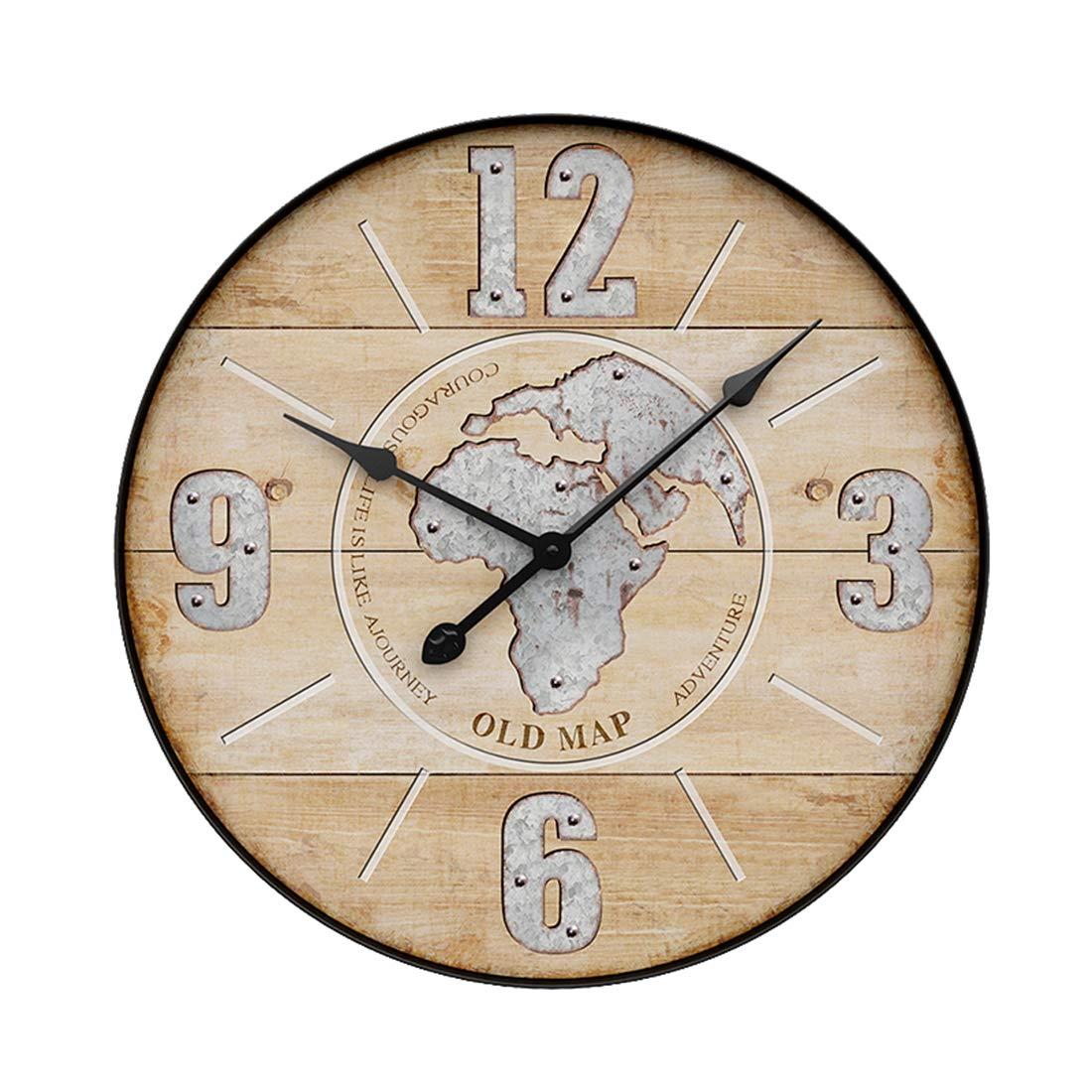 UOPJKL 50cm Nordischer Stil Ring aus Eisen Vintage Wanduhr Küchenuhr ohne Ticken Wanduhr groß als Deko für für Küche, Wohnzimmer, Schlafzimmer, Büro, Klassenzimmer