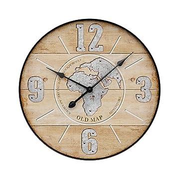 YVSoo 50cm Reloj de Pared Silencioso,Reloj de Pared Vintage Reloj de Cuarzo Madera para Cocina, Salon, Cuarto Decoración (A): Amazon.es: Hogar