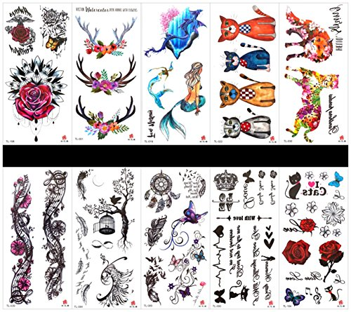 (Interookie 10pcs fake tattoo stickers rose temporary tattoos in one packages,mixed designs as)