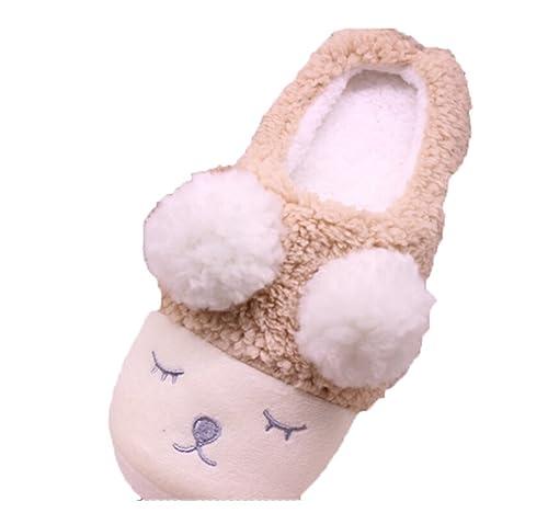 Lalang Plüsch Hausschuhe Damen Pantoffeln Kostüm Netter Schielende Kleine Schafe - als Weihnachten Geschenk für Damen / Erwachsene / Kinder / Mädchen (Größe: 40-41, Braun)
