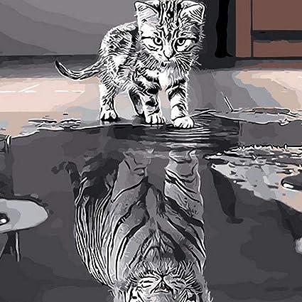 Decoracion de pared Gatito reflejo tigre Lienzo Decoración del hogar Marco encantador Gato Bricolaje Pintura al