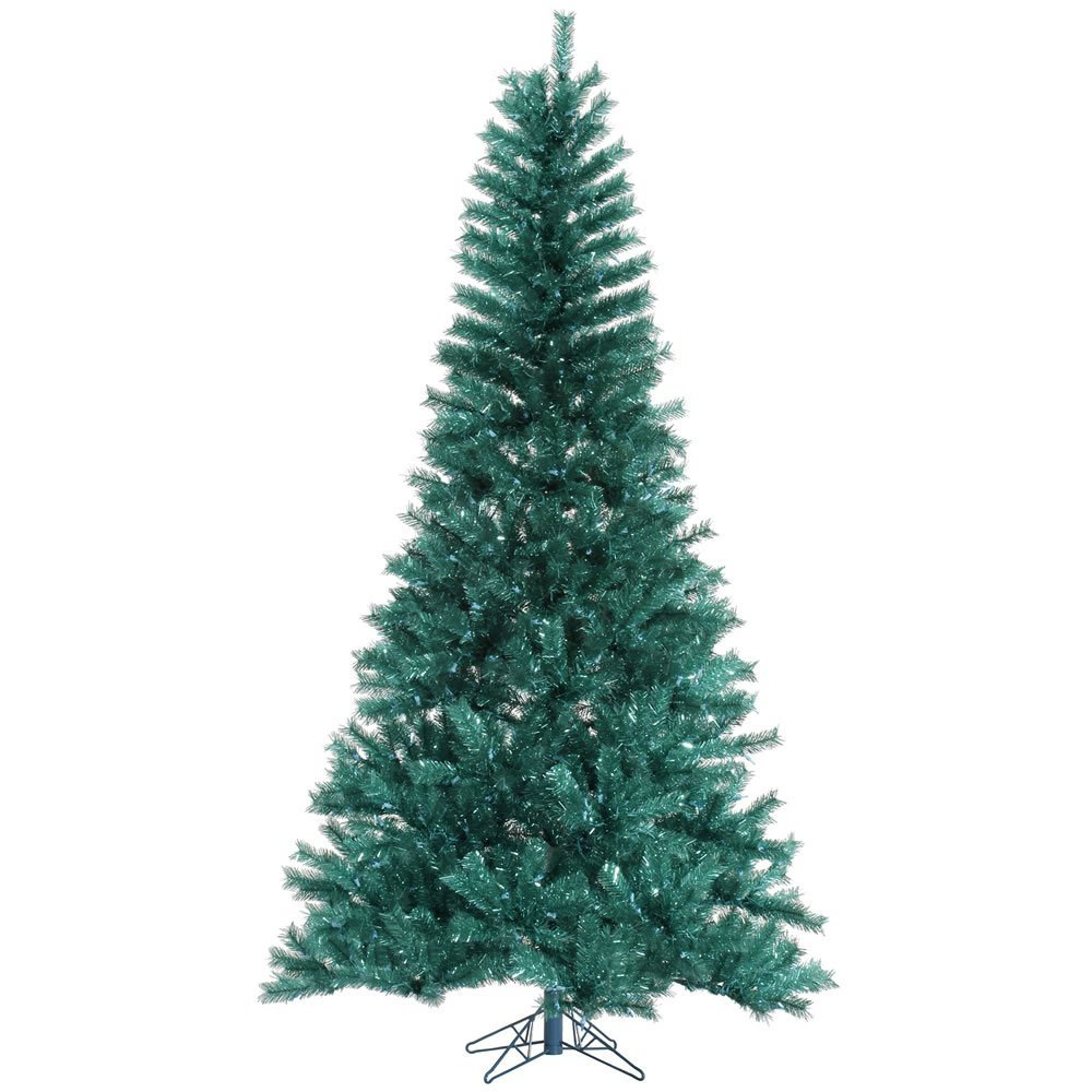 Vickerman Unlit Aqua Tinsel Artificial Christmas Tree, 5.5' x 36