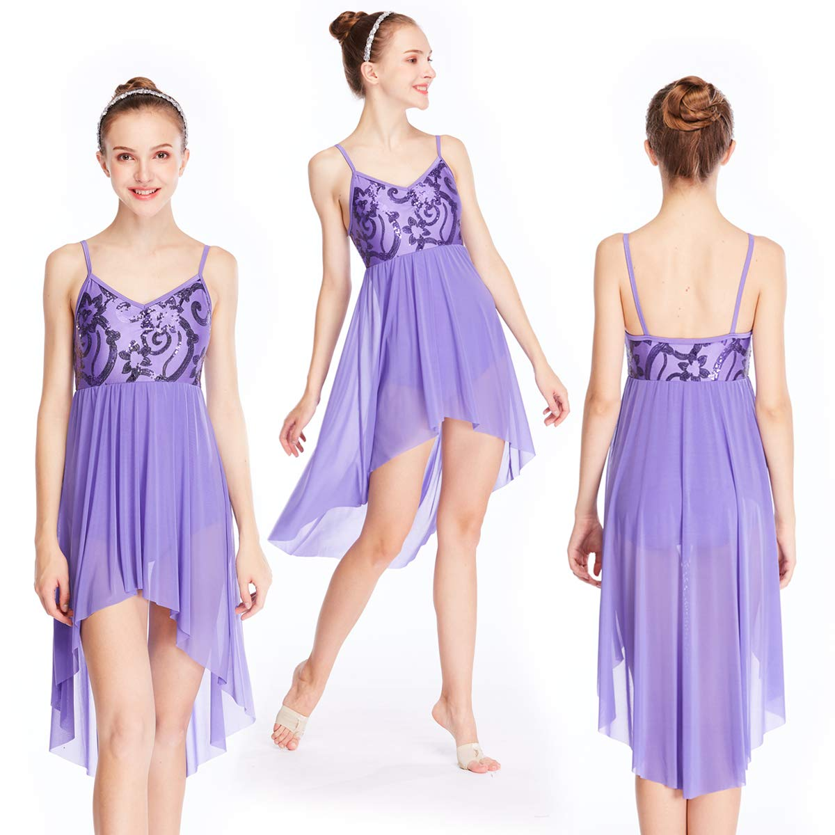MiDee Lyrical Dance Dress Contemporary Costumes Floral Sequins Camisole High-Low Dresses