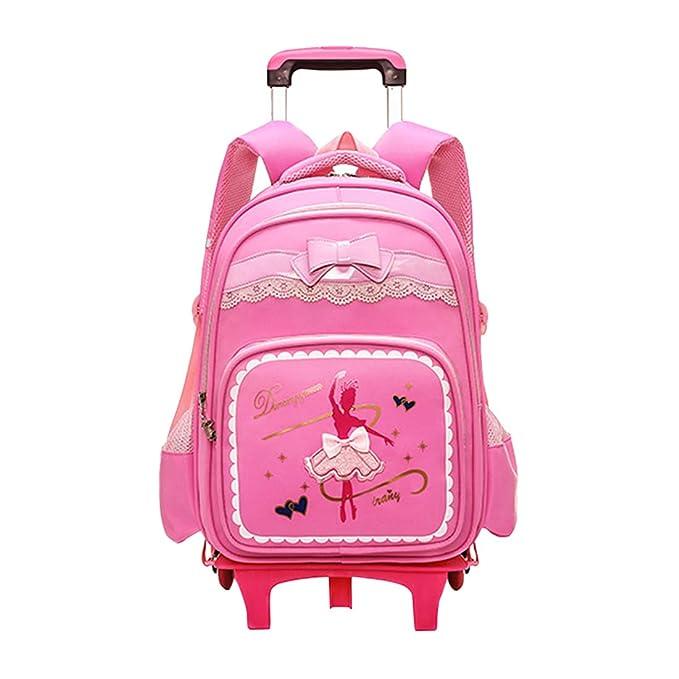 Zhhyltt Trolley Escolar Mochila Estancas Bolsas Con Ruedas - Impermeable Print Ballet Queen Trolley School Backpack for Primary School Students Desmontable ...