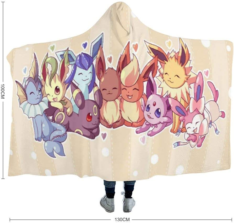 39x51 inch Kids MEW Anime Hooded Blanket for Poke-mon Fans,Eevee Evolutions,Arctic Velvet Wearable Super Soft Warm Throw Blanket,for Winter Sofa School Home Travel Picnic Carrying