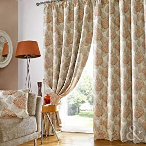 Ives Terracotta Leaf Curtains Heavy Fully Lined Ready Made