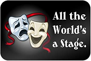 """All The World's a Stage Comedy Tragedy Drama Masks - Acting Theatre Theater 9"""" x 6"""" Metal Sign"""