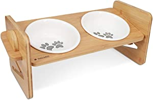 Navaris Adjustable Dog Bowl Station - Raised Bamboo Stand with Twin Ceramic Bowls for Feeding Small, Medium Dogs, Cats, Pets - Elevated Food Stand