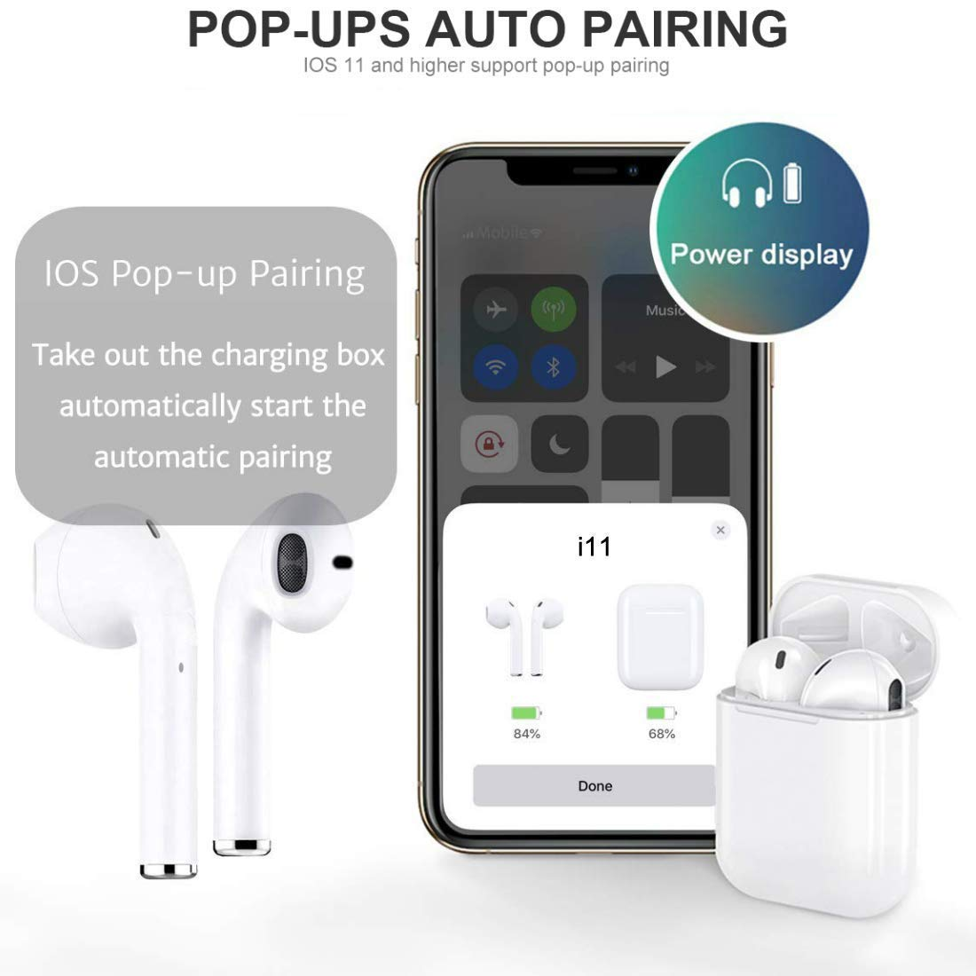 Bluetooth 5.0 Wireless Earbuds Noise Canceling Sports Headphones with IPX5 Waterproof Stereo Earphones in-Ear Built-in HD Mic Headsets for iPhone Android Airpods-White
