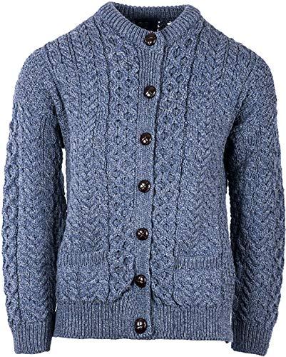 (Irish Aran Wool Lumber Jacket Cardigan Sweater (Denim MARL, Medium))