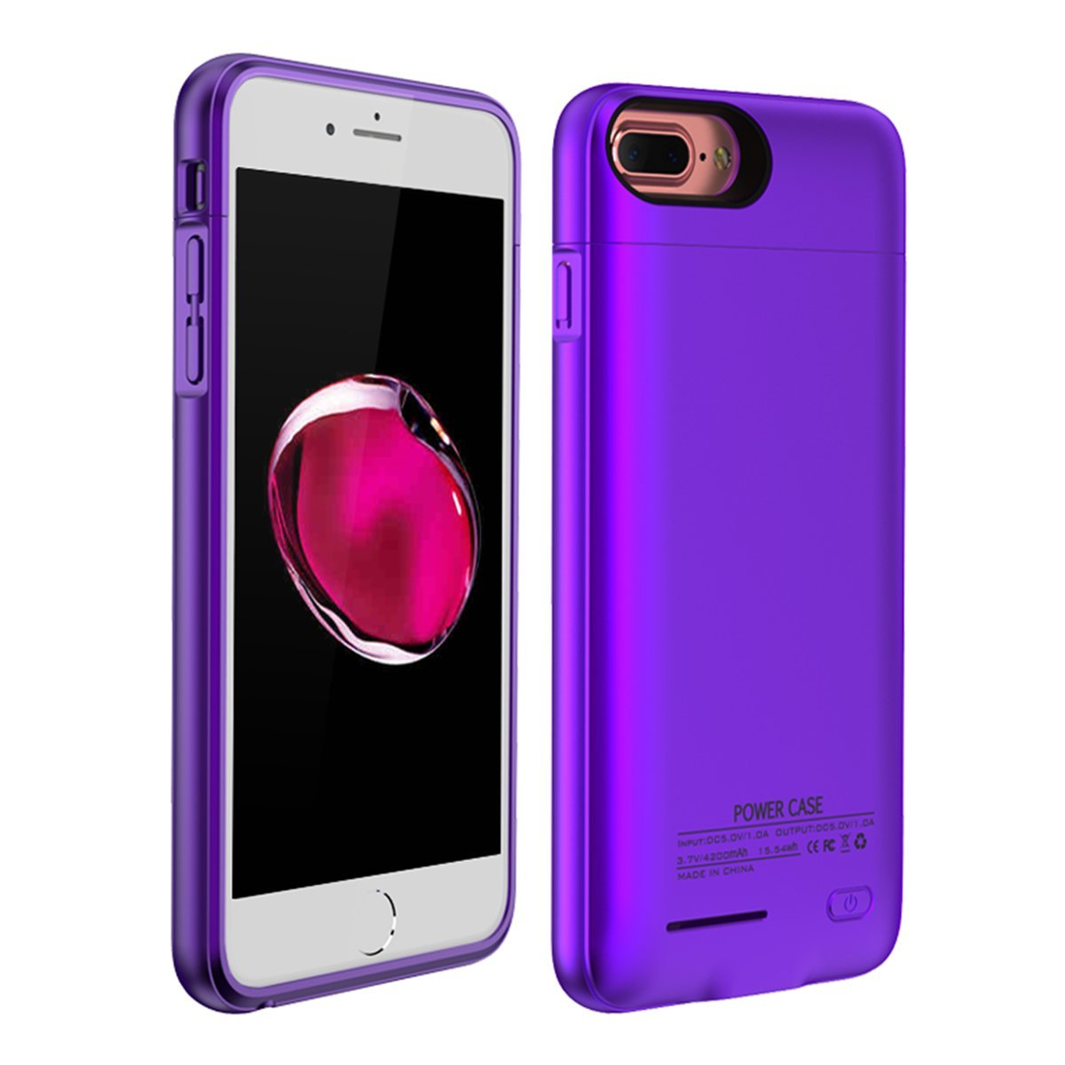 AICEDA iPhone 6 iPhone 6s 4.7 inch iPhone 7 iPhone 8 Rechargeable Battery Case Charger Cover, Shake Dust Dirt Proof For iPhone 6 iPhone 6s 4.7 inch iPhone 7 iPhone 8 - Purple