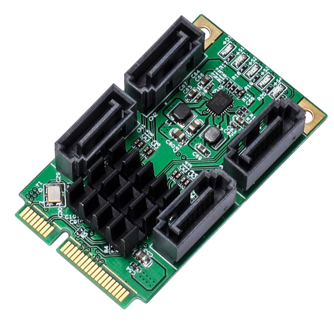 JMT 4 Ports SATA III 6Gbps Mini PCIE PCI-Express 88SE9215 Controller Card SATA 3.0 Mini PCI-E Hard Disk SSD Adapter Extension Card by JMT