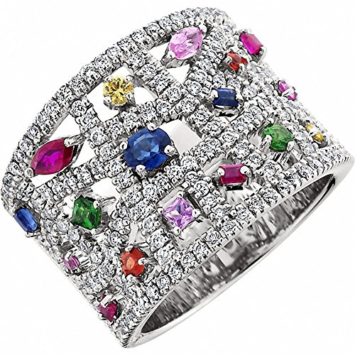 Amoro 14kt White Gold Sapphire and Diamond Ring (0.79 cttw, H-I Color, SI1-2 Clarity) ()