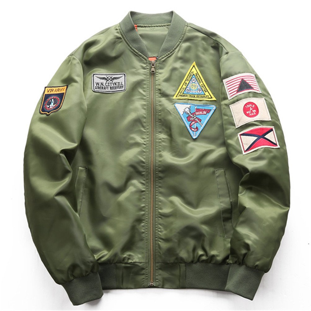 Military Tactical Bomber Air Force MA1 Windbreaker Varsity Flight Jacket Coat at Amazon Mens Clothing store: