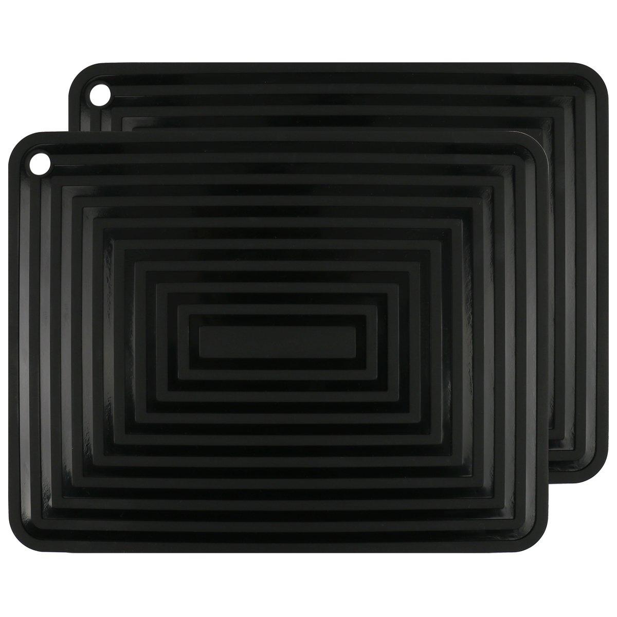 2 Pack,Silicone Trivet Mats/Hot Pads,Pot Holder,9''x12'' Non Slip Flexible Durable Heat Resistant Pot Coaster Kitchen Table Mats (Black)