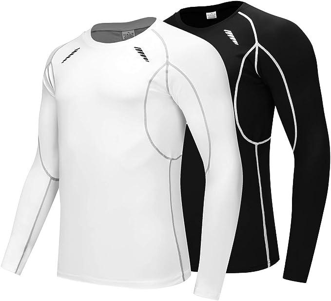 Mens Long Sleeve Dri-fit Compression Running Shirt Baselayer Tee Top