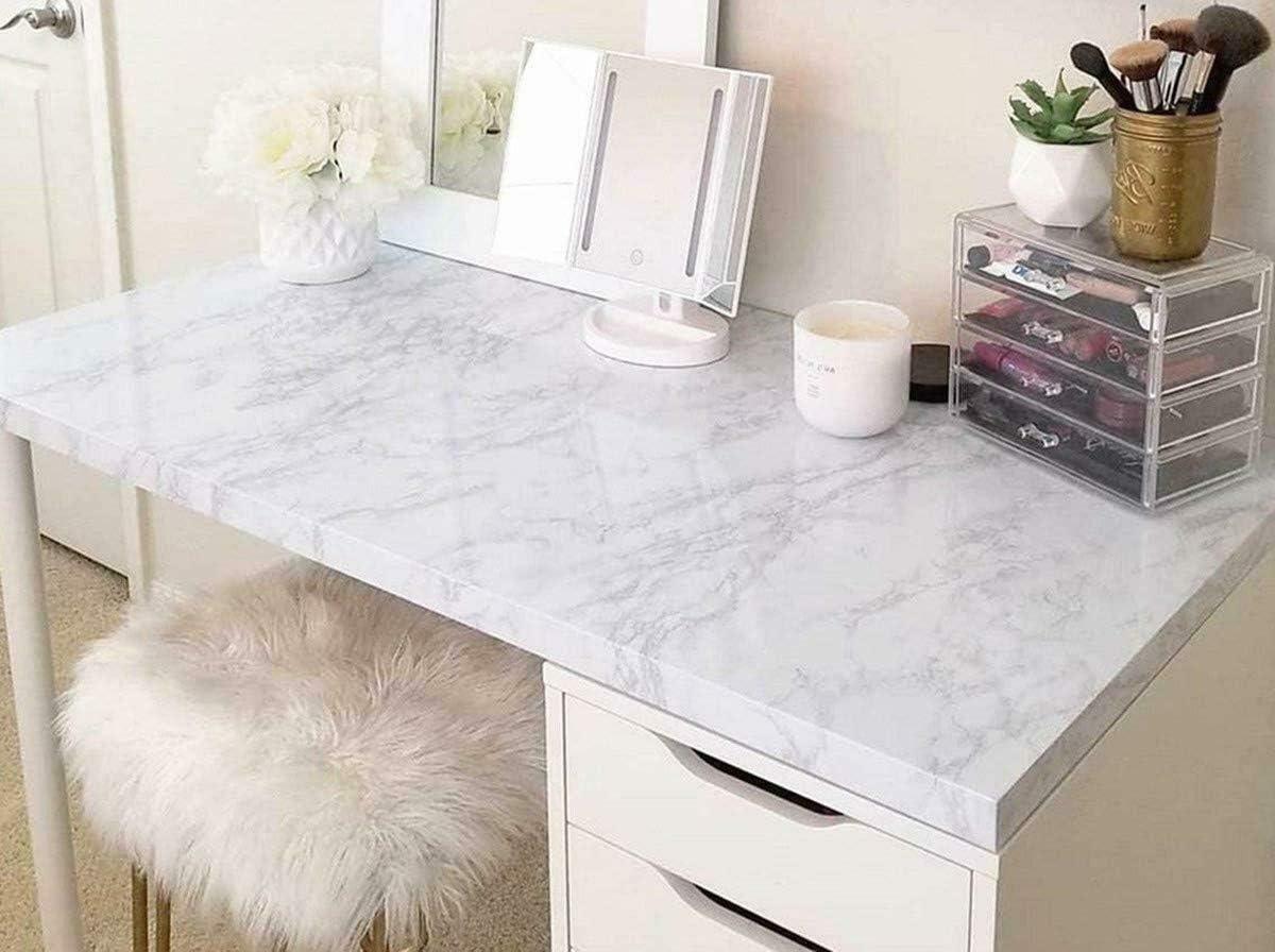 Yizunnu Lot de 5 m de papier adh/ésif en marbre blanc amovible en vinyle Blanc
