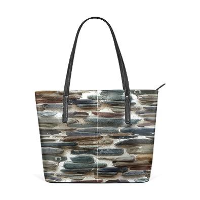 Amazon com: LORVIES Stone Wall PU Leather Shoulder Bag Purse