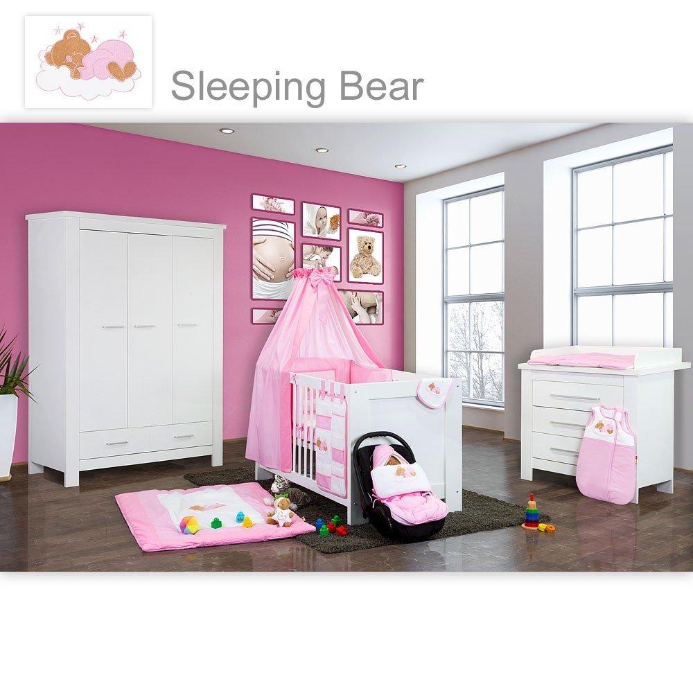 Babyzimmer Enni in weiss 10 tlg. mit 3 türigem Kl. + Textilien von Sleeping Bear, rosa