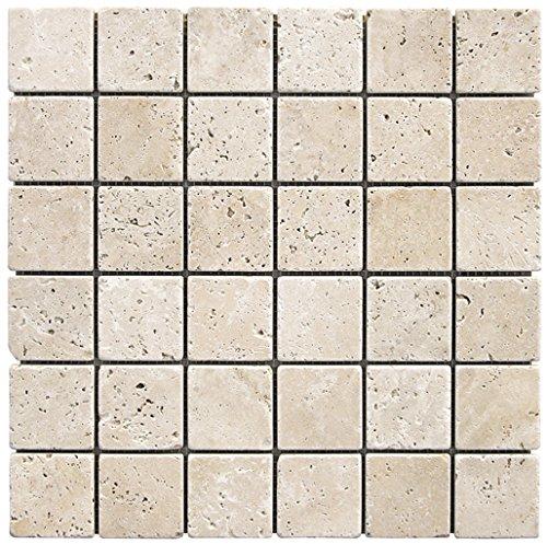Light, Ivory, White, Chiaro Tumbled Travertine 1 SQFT (2x2 MOSAIC)