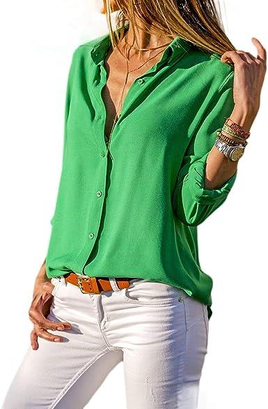 TOOGOO Otono Blusa Camisa De Gasa De Manga Larga De Solapa Con Botones Para Mujer Color Solido Senora Casual Camisa Basica De Trabajo Camisa Tops Talla Extra Grande Blanca S: Amazon.es: Ropa