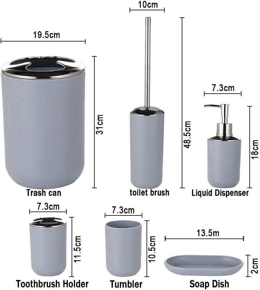 JOTOM Set di Accessori da Bagno Plastica da 6 Pezzi Set Bottiglia di Lozione da Bagno Tazza Spazzolino Portasapone Coppa del Dente Alce e Geometria