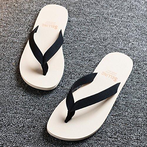 AIHUWAI Sandalen Männer Sandalen Sommer Freizeit Flip Flops Männer Strand Schuhe Männer weichen Rutsch Gummi Flip Flop Sandalen und Hausschuhe Black