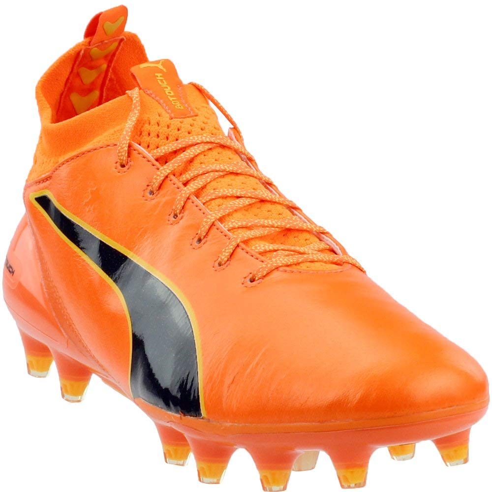 Puma EvoTouch Pro Fg Mens Orange Leather Athletic Lace Up Soccer schuhe 8.5