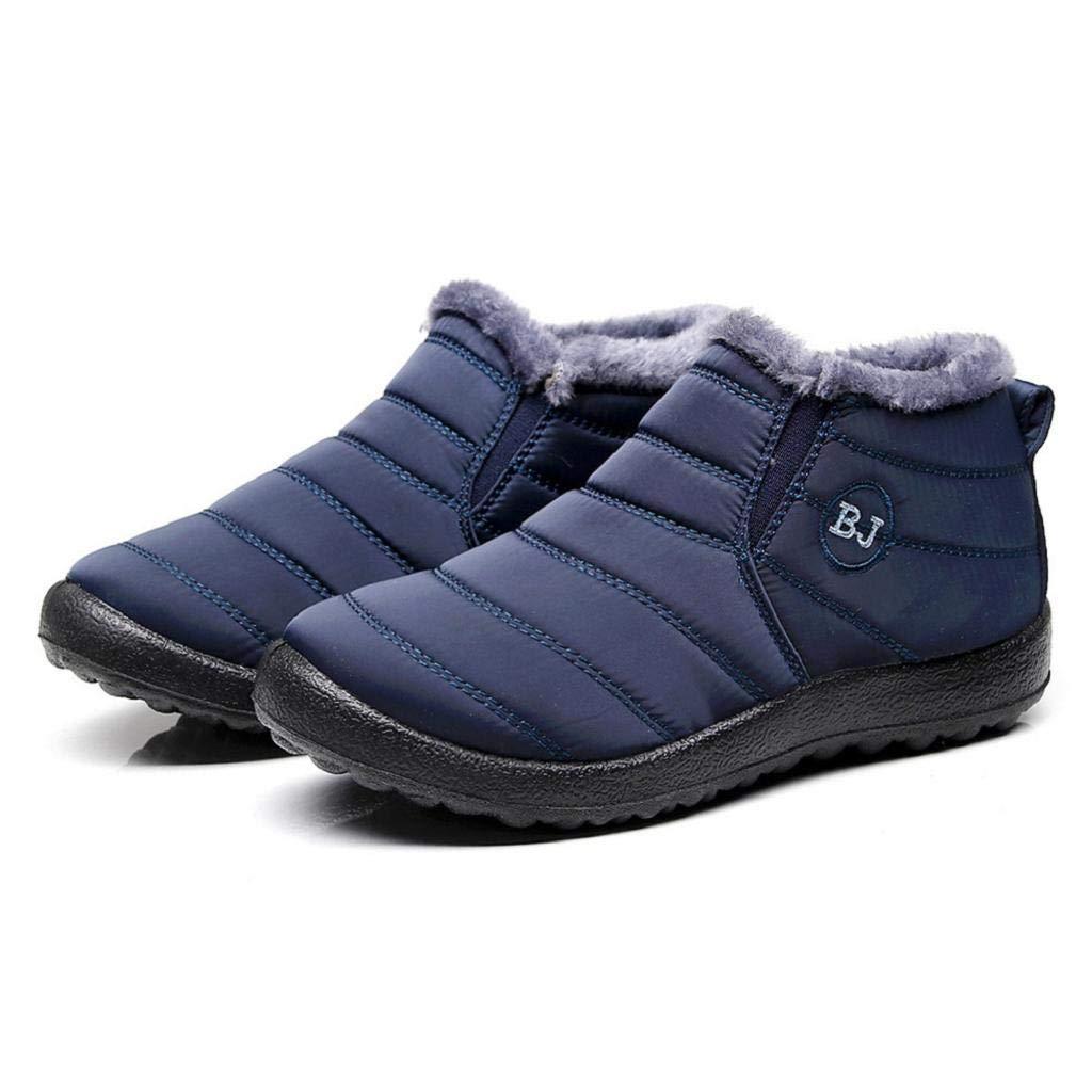 REYO Women Waterproof Boots Solid Warm Ankle Plus Velvet Flat Snow Boot Casual Winter Walking Martin Boot Shoes