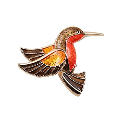c509a90b103 Woogge Women Animal Brooch Orange Enamel Lovely Hummingbird Brooch Pins 18K  Gold for Girls