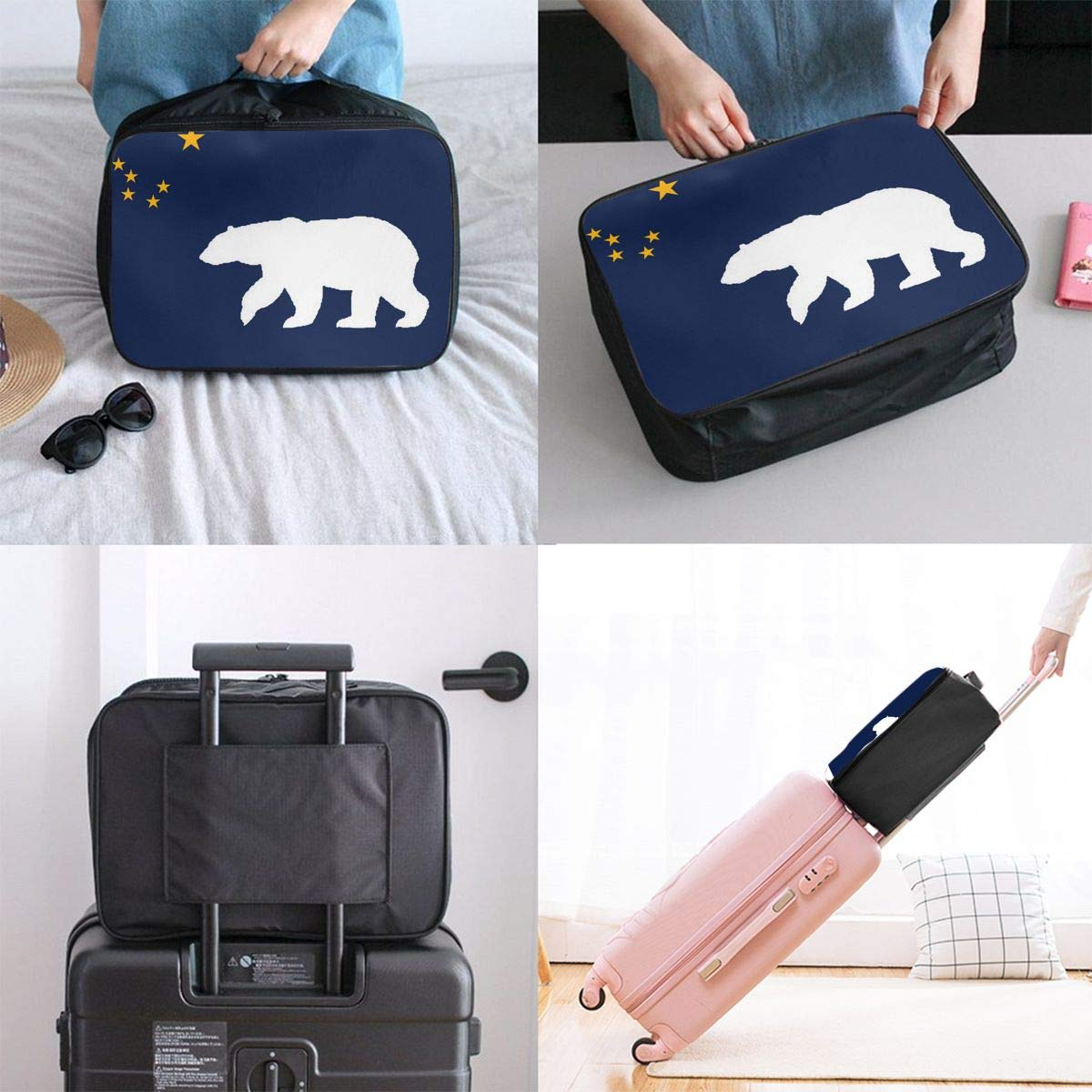 Alaska Flag Polar Bear Travel Bag Lightweight Luggage Bags Duffle Bag Large Capacity Travel Organizer Bag