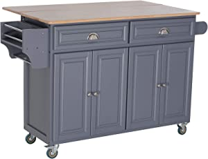 HOMCOM Rolling Oak Wood Drop-Leaf Kitchen Island Cart with Storage and Butcher Block - Grey