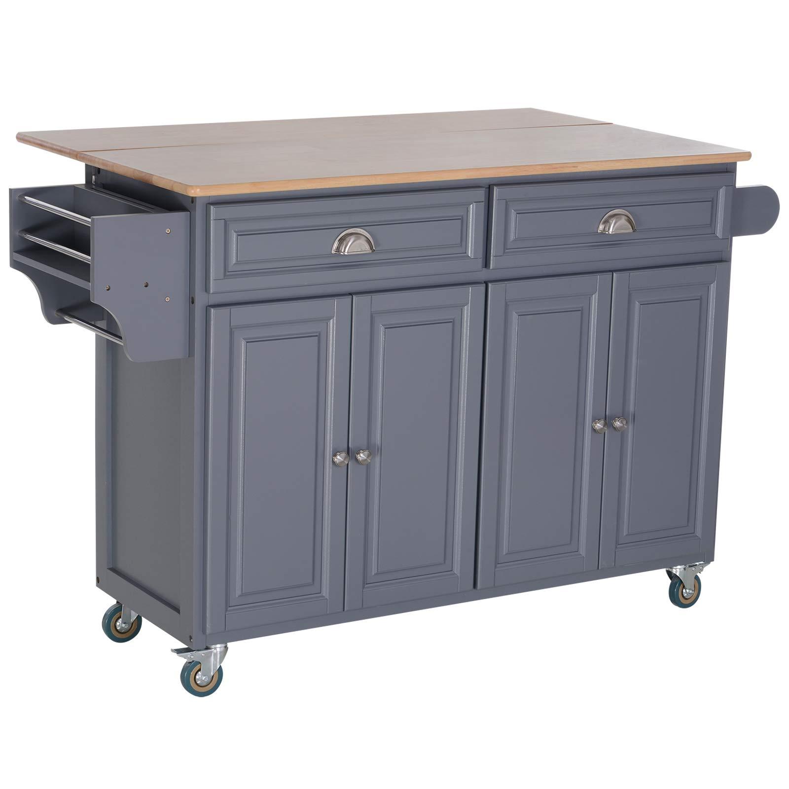HOMCOM Rolling Oak Wood Drop-Leaf Kitchen Island Cart with Storage and Butcher Block - Grey by HOMCOM