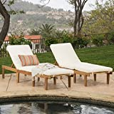 Great Deal Furniture Paolo | Outdoor Acacia Wood Chaise Lounge with Cushion | Set of 2 | in Teak Finish/Ivory
