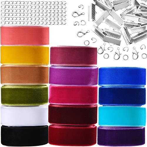 Bememo 15 Yards 5/ 8 Inch Assorted Colored Velvet Ribbon Roll with Bookmark Crimp Ends Lobster Clasps Jump Ring and Extension (Choker Clasp)