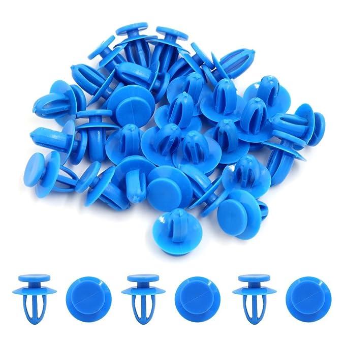 Amazon.com: eDealMax Empuje 30Pcs remaches de plástico Azul pegatina de Fender en la puerta de retención DE 9 mm Clip Para el coche: Automotive