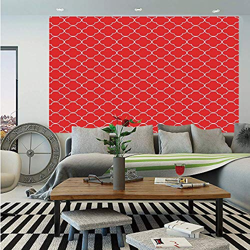 SoSung Arrow Wall Mural,Arabesque Style Motifs Oriental Royal Red Floral Petal Pattern Moroccan Print Decorative,Self-Adhesive Large Wallpaper for Home Decor 83x120 inches,Vermilion White