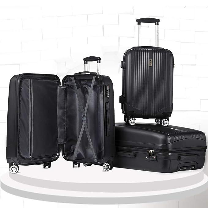 Amazon.com: Juego de maletas rígidas de 3 piezas con candado ...