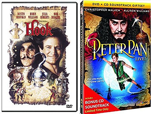 Peter Pan Live Special Edition Musical with Bonus Soundtrack + Hook Robin Williams Fantasy Movie Bundle DVD set