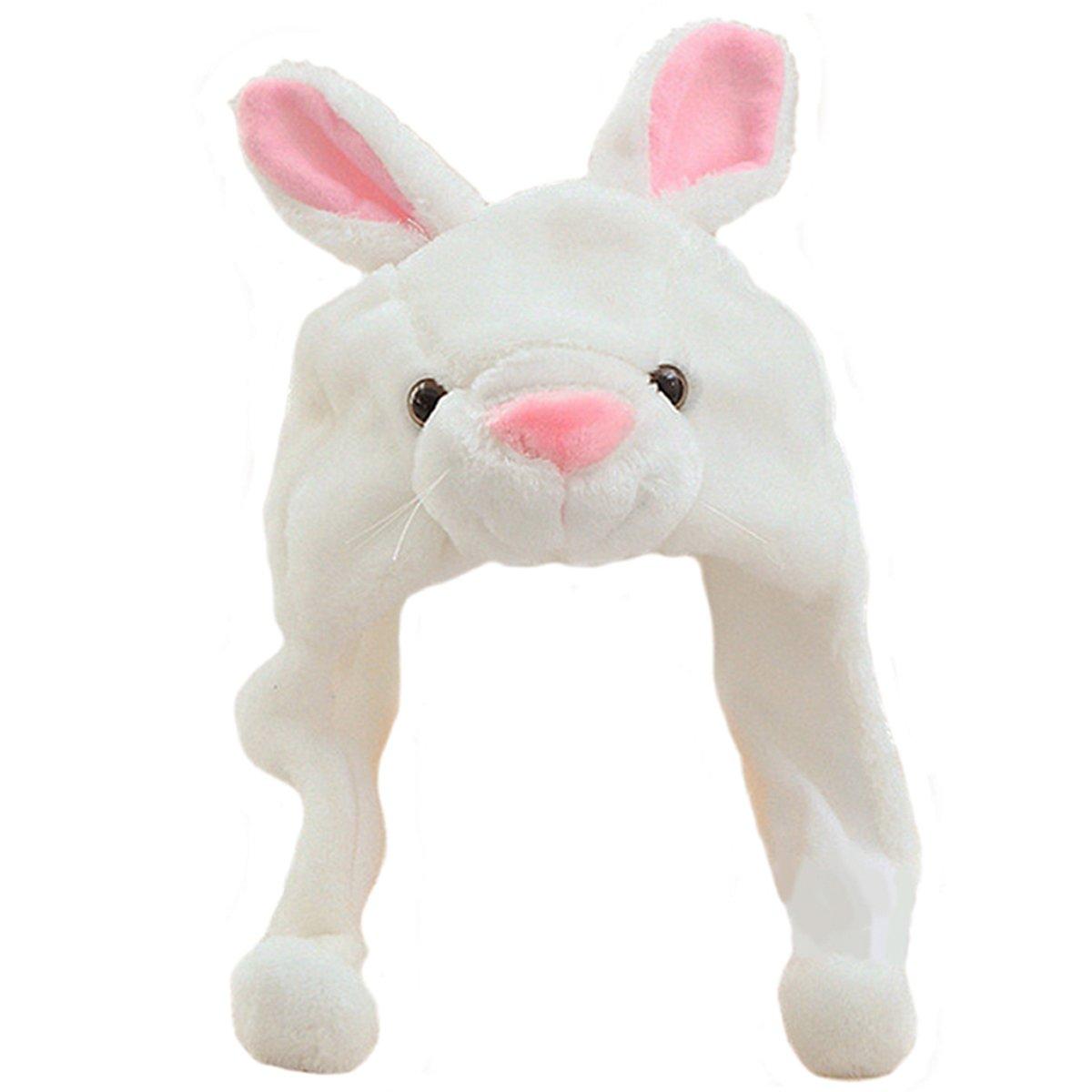 Lacheln Cartoon Stuffed Animal Hat Plush Party Costume Headwear,White Bunny