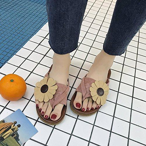 antidérapant Ms Parka Sandales Tongs Chaussures Tongs Plat de Fleurs Mode Plage Pantoufles Sandales et Jaune 39 Lazy d'été Sandales Femelle ITTXTTI B8w5dUq8