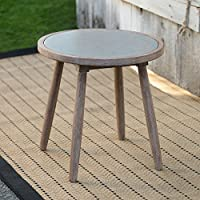 Patio Side Table Round Shape Made of Acacia Wood with A Stone Inlay Top in Morning Mist Finish