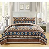 3 Piece Brown Queen Southwest Theme Bedspread Set, Blue Native American Geometric Tribal Southwestern Country Diamond Shape Pattern Bedding, Warm Bright Vibrant Color Cabin Lodge Cottage, Polyester