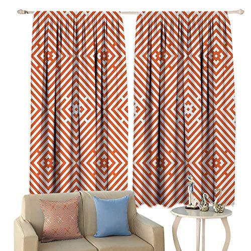 HoBeauty Burnt Orange, Waterproof Window Curtain, Rhombuses in Bullseye Pattern with Herringbone Zigzag Stripes, Decorative Curtains for Living Room,(W84 x L72 Inch, Burnt Orange and White (Bullseye Plum Light)