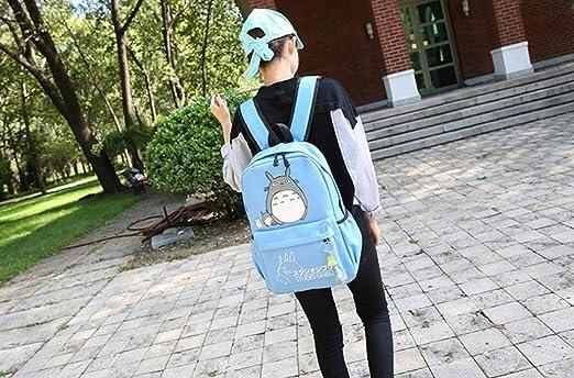 88da6b6024 Amazon.com   Thedmhom 1 Pcs New Cute Kawaii Animal Classic Cartoon Anime  Canvas Totoro Backpack Study Stationery Fashion Blue Casual Bag Satchel  School Bags ...