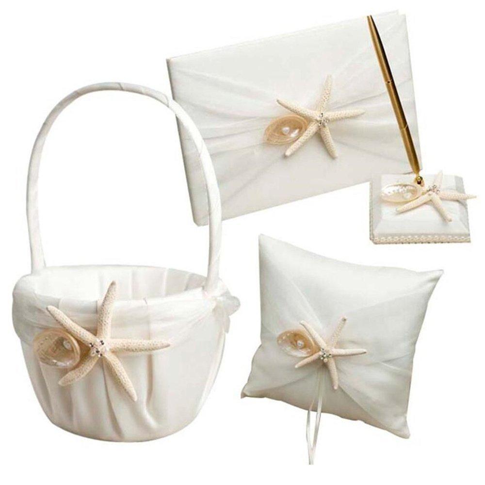 4Pcs Romantic Wedding Ceremony Party Favor Sets, Beach Theme Starfish Seashell Design Wedding Ring Pillow+ Girls Flower Basket+Guest Book +Pen Set for Elegant Wedding Party Wedding Decoration Supplies by Youzpin